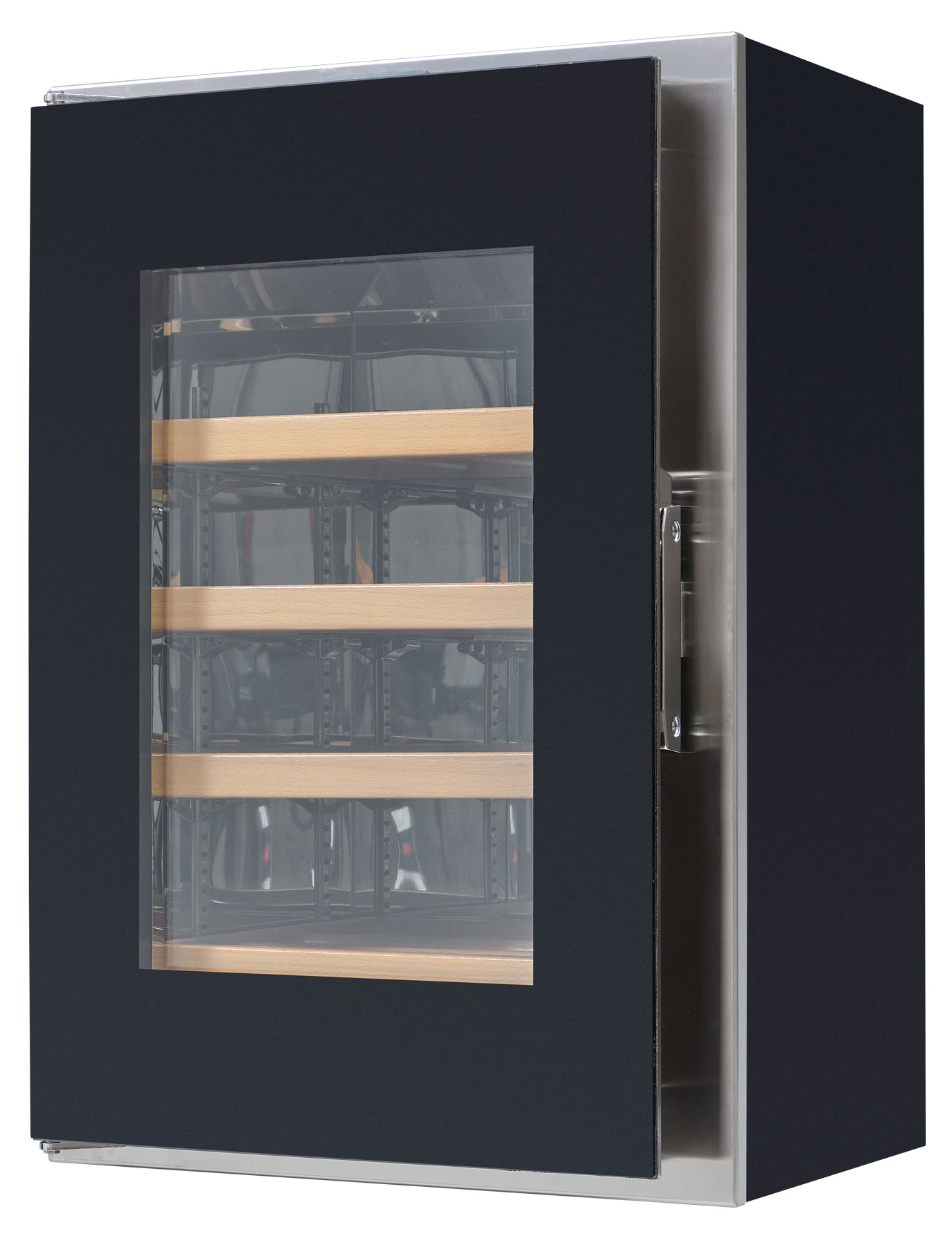 Cantina vino - Portello con vetro a filo - griglie in legno